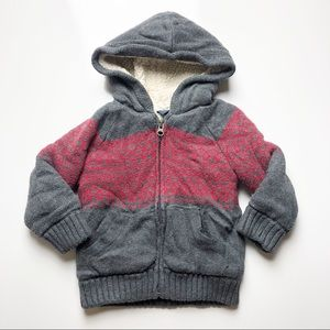 Gap Sherpa Lined Argyle Jacket Grey Red 12-18 mo